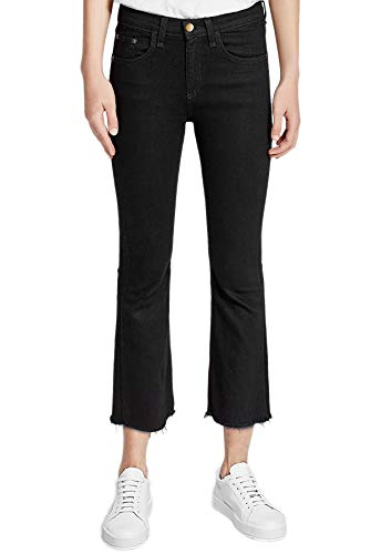 Slim Évasé Ourlet Avec Hiamigos Denim H Bootcut Délavage Moyen En Femme Pantalons Brut Jeans Fit Noir Vintage ngXvvqE