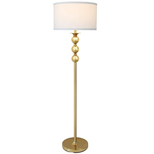 Floor Lamp Shade Brass (Brightech Riley LED Floor Lamp– Tall Pole Free Standing Reading Light for Living Room Den Office Or Bedroom— Modern Upright Light with Classic Drum Shade— Energy Saving Bulb Included - Antique Brass)