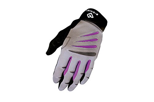 Bionic Women's Cross-Training Full Finger Gloves, Gray/Purple, Medium (Fitness Bionic Mens Gloves)
