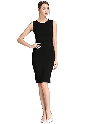 Buenos Ninos Women's Sleeveless Basic Slim Fit Stretch Tank Midi Dress Black M - Sexy Black Slinky