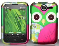 Pantech Renue P6030 Colorful Owl Design Snap On Hard Case Protector Cover + Car Charger + Free Opening Tool + Free American Flag Pin