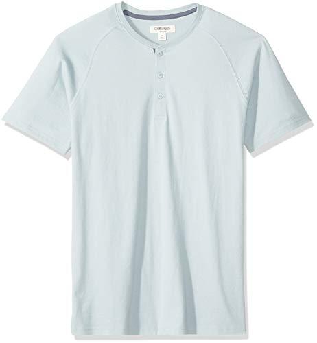 Goodthreads Men's Short-Sleeve Sueded Jersey Henley, Light Aqua, XX-Large Tall ()