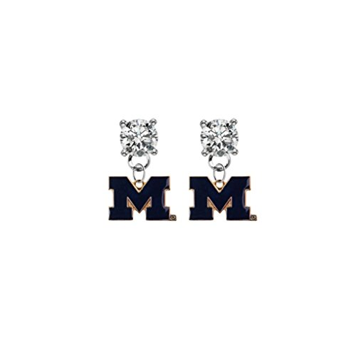 Michigan Wolverines Style 2 Clear Crystal Stud Post Dangle Earrings