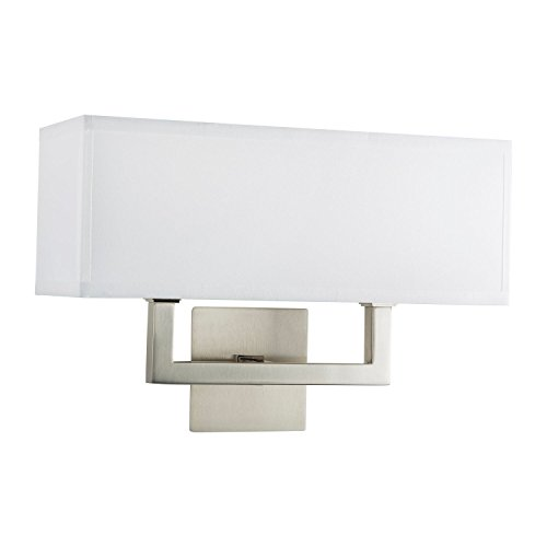 Sofia Wall Sconce 2 Light - Brushed Nickel w/ White Fabric Shade - Linea di Liara LL-WL350-2-BN