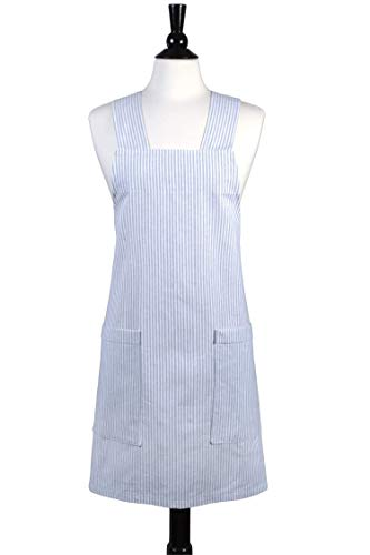 - Japanese Linen Crossback Apron - Steel Gray Stripe Womens Retro Crossover Pinafore - Vintage Style Kitchen Apron - Two Large Pockets - Personalized Options