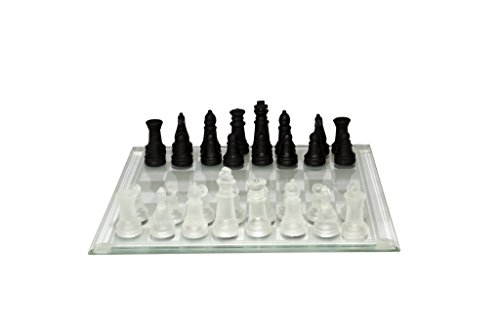 Frosted Glass Chess Set, Black/White