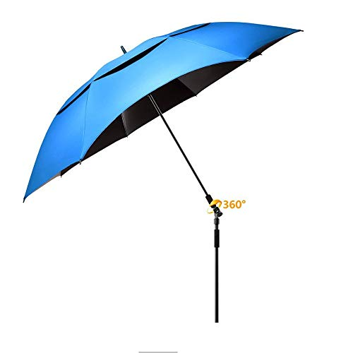 (IN-HEART Large Windproof Beach Umbrella, Portable 100% UV Protection, Sturdy Best Sun Shade for Sand, Camping and Picnic, with 2 Metal Sand Anchor, 360 Tilt Mechanism Pole (Blue))