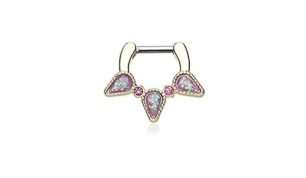 Covet Jewelry Golden Opal Sparkle Trident Septum Clicker