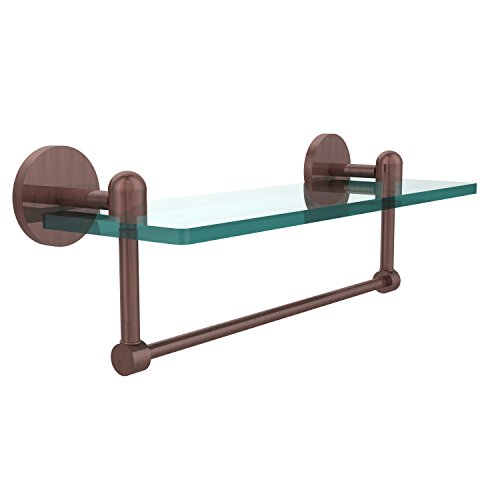 - Allied Brass TA-1TB/16-CA Glass Shelf with Towel Bar, 16-Inch x 5-Inch