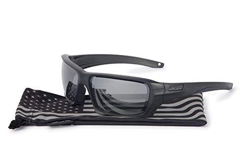 ESS Sunglasses Rollbar USA Flag Subdued Black with Polarized Mirror Gray ()