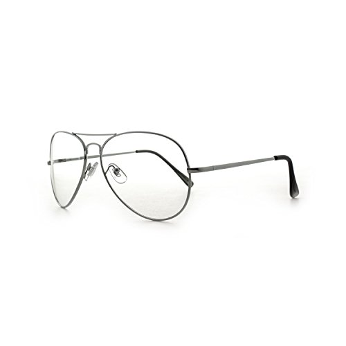 MLC Eyewear Metal Frame Aviator Clear Lens Glasses Fashion Eyewear Non-Prescription UV400 (Cyber Silver, Transparent (UV400 - Fashion Eyewear Frames