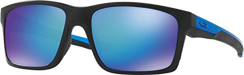 Oakley Men's Mainlink Polarized Iridium Rectangular Sunglasses, Matte Black w/Prizm Sapphire Polarized, 57 - Oakley Sunglasses Blue
