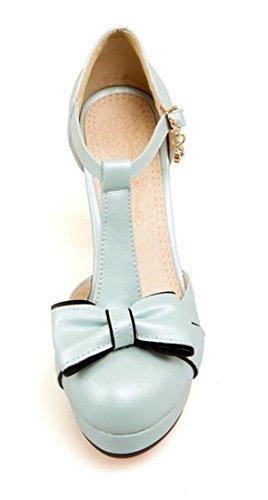 VECJUNIA Ladies Elegant T-strap Bowknot Sandals Chunky Heel Shoes Blue cEZzTMpwD