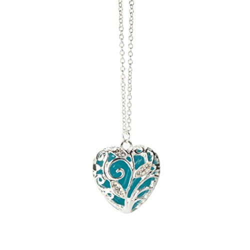 Clearance Women Necklace Daoroka Magical Aqua Blue Tree Heart Glow In The Dark Locket Luminous Wicca Necklace Jewelry Valentines Gift (Length:49cm, Blue)