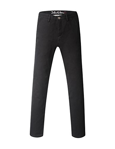 Demon&Hunter Men's Regular-Fit Black Fleece Lined Chino Trousers S9001x2(31) Cotton Seersucker Trousers