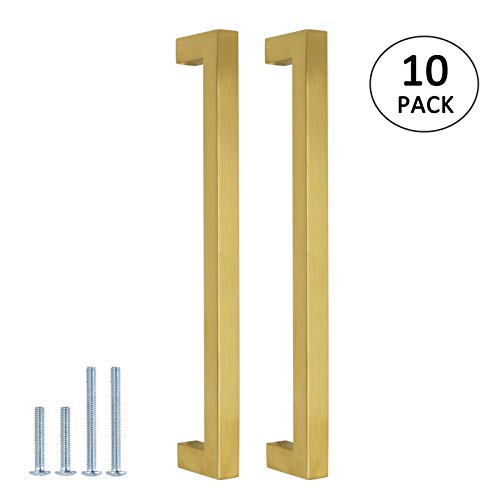 10Pack Square Cabinet Pulls and Knobs Brushed Brass Finish 7 9/16 inch 192mm Hole Spacing Stainless Steel Kitchen Hardware Gold Handle Pull 202mm Length Modern Dresser Drawer Pull Closet Door Handles