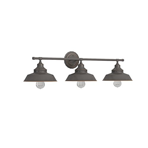 Westinghouse 6343400 Iron Hill Three-Light Indoor Wall Fixture, Oil Rubbed Bronze Finish with Highlights and Metal Shades by Westinghouse (Image #3)'