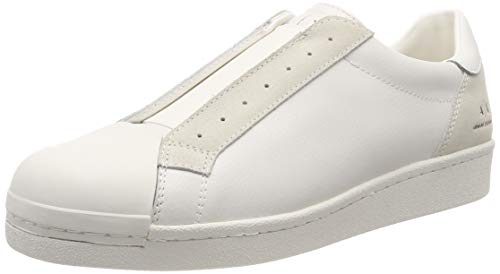 A|X Armani Exchange Men's Suede + Leather Slip On Sneaker, Off-White, 7 M ()
