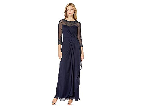 Alex Evenings Women's Long A-Line Sweetheart Neck Dress (Petite and Regular Sizes), Dark Navy, 10