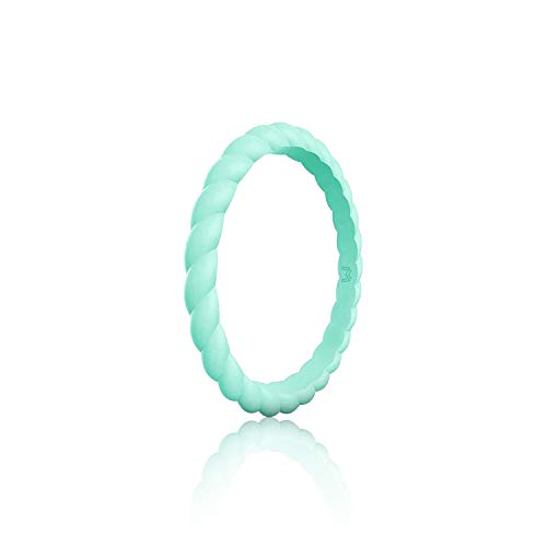 WIGERLON Womens Silicone Wedding Ring &Rubber Wedding Bands for Workout and Sports Width 3mm Color Turquoise Size - Rolling Gold White Ring