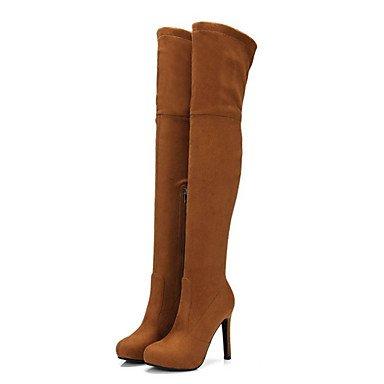 Heart&M Damen Schuhe Wildleder Herbst Winter Komfort Neuheit Modische Stiefel Stiefel Stöckelabsatz Spitze Zehe Oberschenkel-hohe Stiefel almond