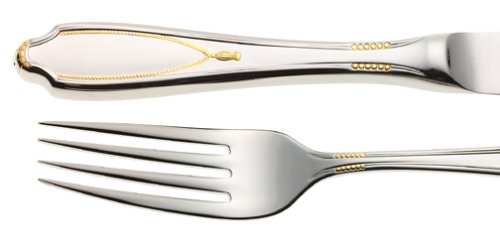 (Yamazaki 15700 Victoria Gold Accent 5-Piece Stainless Steel Flatware Place Setting, Service for 1,Golden)