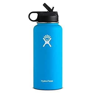 Hydro Flask Wide Mouth Water Bottle, Straw Lid – Multiple Sizes & Colors