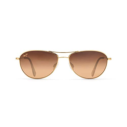 Maui Jim Baby Beach  Aviator Sunglasses, Gold Frame/HCL Bronze Lens, One Size ()