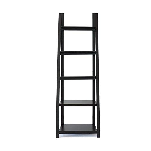 - Coismo Espresso Ladder Functional Shelf Wooden 5-Tier Storage Bookcase Decorative Living Room, Bathroom, Office
