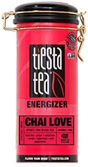 Tiesta Tea Chai Love, Spiced Chai Black Tea, 30 Servings, 4 Ounce Tin, High Caffeine, Loose Leaf Black Tea Energizer Blend, Non-GMO