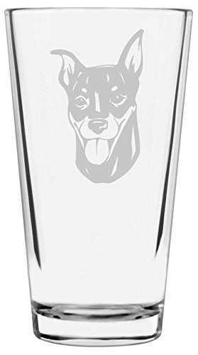 Miniature Pinscher (Min Pin) Dog Themed Etched All Purpose 16oz Libbey Pint Glass
