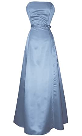 50s Strapless Satin Long Bridesmaid Prom Dress Formal Junior Plus Size, Large, Ice-Blue