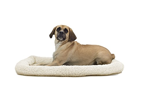 1 Piece Cream Large Dog Crate Pad, Bolster Pet Bed Waterproof Pet Mat 36 Inches Faux Sheepskin Plush Berber Fabric Interior Quilted Pad Insulating Foam Soft Comfortable Modern, Polycanvas -