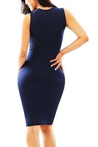 Yming Manches Longues Femmes Coupe-bandage Moulante Clubwear Midi Robe Moulante Bleu 06