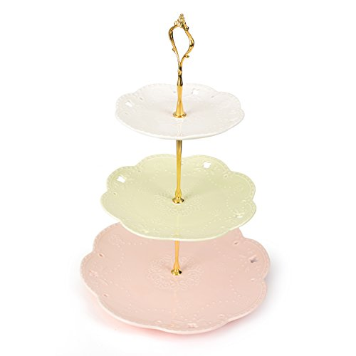 Malacasa 3-tier Round Porcelain Cake Stand Dessert Plate Snacks Tray Cheese Service Plates Cupcake - Plate Cake Porcelain