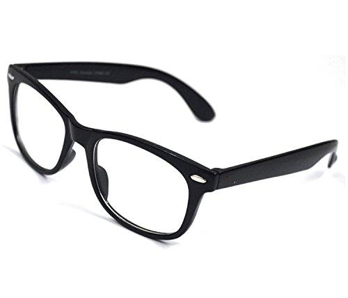 Computer Glasses Eye Strain Relief - Clear Wayfarer Glasses - Blue Light Blocking Glasses - New Wayfarer Video Gaming Glasses – Computer Reading Glasses 0.0 Anti-Glare - Nerd Glasses For Women & Men