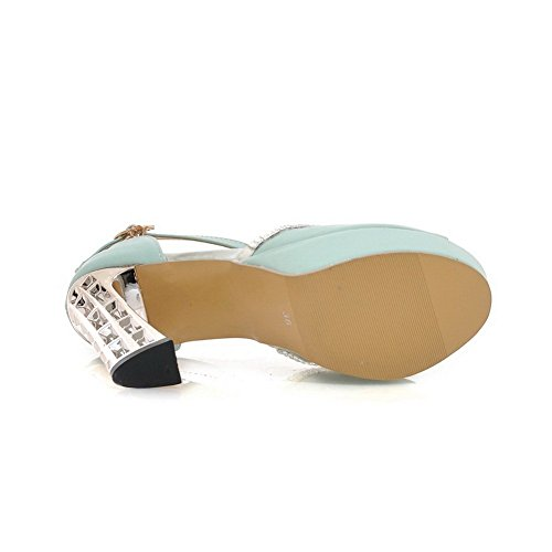 Sandals Blue Heels Soft Electroplate Material 1TO9 High Heel Ladies qA6cffw0