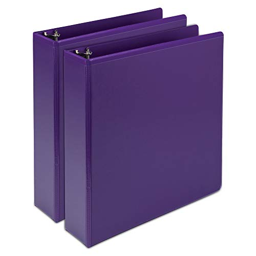Samsill Earth's Choice Biobased Durable Fashion Color 3 Ring View Binder, 2 Inch Round Ring, Up to 25% Plant Based Plastic, USDA Certified Biobased, Purple, Value Two -