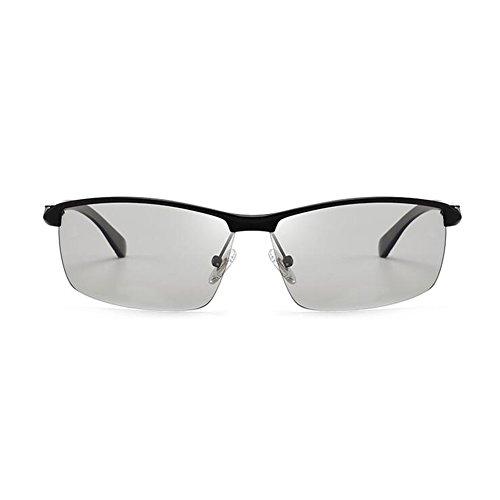 Black Medio Decoloración 100 1 Gafas Solar Black De Hombres Luz Inteligente Protección Protección Libre WYYY Gafas Aire De Color Gafas Conducción Sol UV Polarizada UVA Clásico 2 Anti Marco 4vnwz