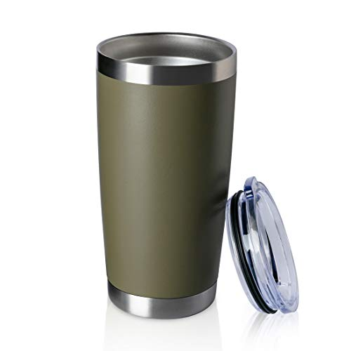 ONEB 20oz Double Wall Vacuum Insulated Travel Mug, Stainless Steel Tumbler with Lid, Durable Powder Coated Insulated Coffee Cup for Cold & Hot Drinks (Army Green, 1 Pack) (Green Travel Mug)