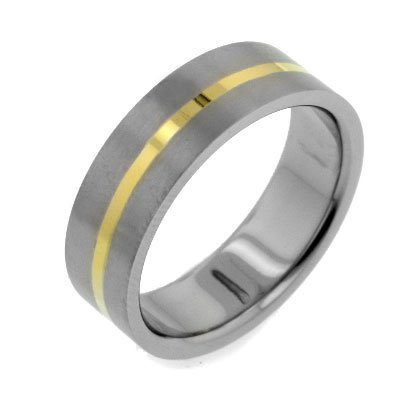 Womens and Mens 7mm Wide Gold Tone Striped Center Titanium Wedding Band Ring Size 11(Sizes 8,9,10,11,12,13)