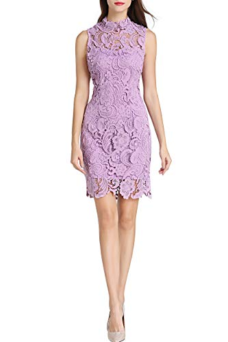 Little Smily Women's Crochet Lace Form Fitting High Neck Cocktail Bodycon Dress (S, Matte ()