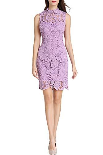 Little Smily Women's Crochet Lace Form Fitting High Neck Cocktail Bodycon Dress (S, Matte ()