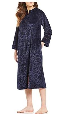 Miss Elaine Women's Jacquard French Fleece Long Zipper Robe - Two Side Pockets