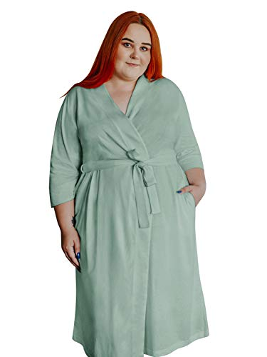 SIORO Women's Cotton Robe Plus Size Lightweight Kimono Maternity Nursing Robe Gowns Knit Bathrobe Soft Sleepwear Long,Green Mist XL