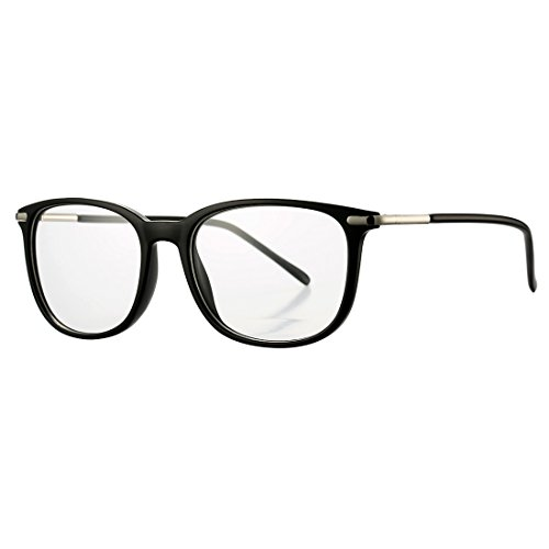 COASION Non-prescription Horn Rimmed Clear Lens Hipster Eye Glasses Frame Metal Temple OpticaL Eyewear (Matte Black, 52mm)