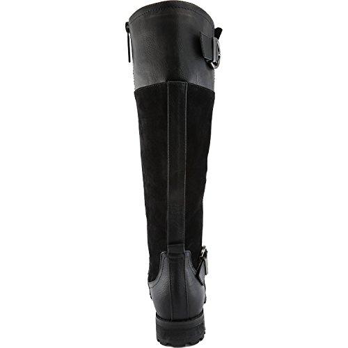 Dailyshoes Donna Fibbia Doppia Militare Stivali Da Combattimento Cerniera Laterale Moda Scarpe Nere Sv