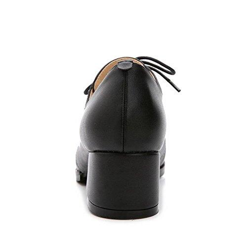 AalarDom Mujer Cordones Puntera en Punta Tacón Medio Material Suave Sólido De salón Negro