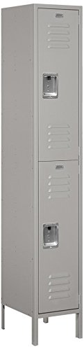 Salsbury Industries 52165GY-U Double Tier 1 Wide 6-Feet High 15-Inch Deep Unassembled Extra Wide Standard Metal Locker, Gray -