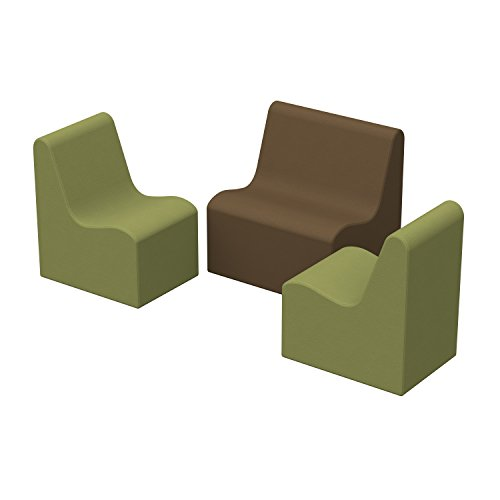 ECR4Kids SoftZone Youth Wave Seating - Play Foam Furniture for Kids - Earthtone (3-Piece Set)